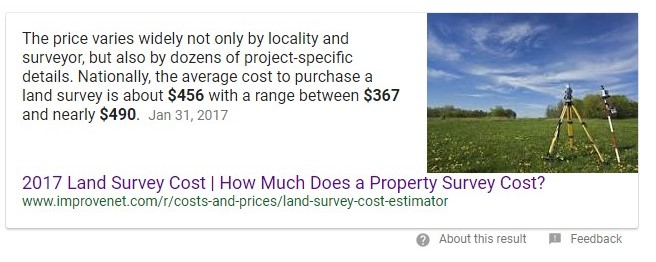 boundary survey cost should not be less than $500